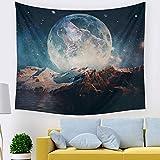 ZHH Tapicería de lobo y luna Tapiz de cielo estrellado Decoración de pared de montaña de hombre lobo Decoración de hogar Tapiz de pared tapiz indio para Dormitorio, Living, 150 cm x 130 cm