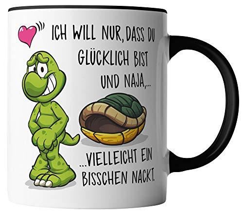 vanVerden Tasse - Ich will das du glücklich bist und vielleicht ein bisschen nackt - beidseitig Bedruckt - Geschenk Idee Valentinstag mit Spruch, Tassenfarbe:Weiß/Schwarz