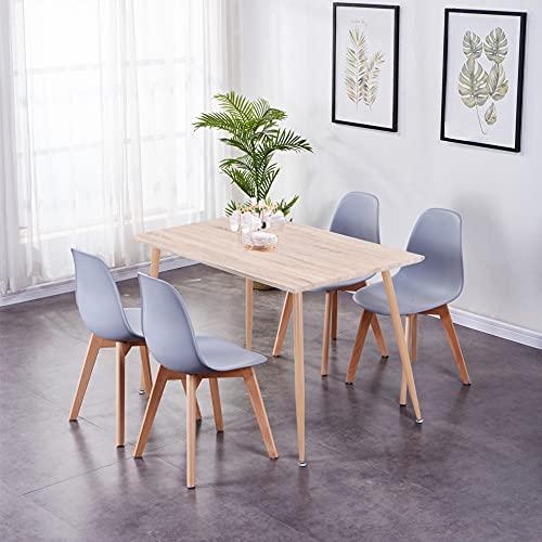 GOLDFAN Esstisch mit 4 Stühlen Essgrupp Rechteckiger Tisch Holz und Grau Stuhl Skandinavien Wohnzimmertisch Küchentisch für Esszimmer Küche