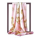 K-ONE Bufanda de Seda Cuadrada de 90Cm para Mujer Foulard Estampado Hijab Chales Dama Wraps Primavera Verano Cuello de satén