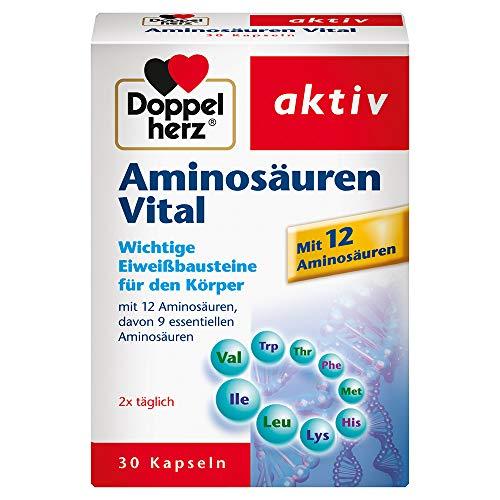 Doppelherz Aminosäuren Vital – Nahrungsergänzungsmittel mit 12 Eiweiß-Bausteinen, darunter alle 9 essentiellen Aminosäuren, für Sportler und körperlich Aktive – 1 x 30 Kapseln