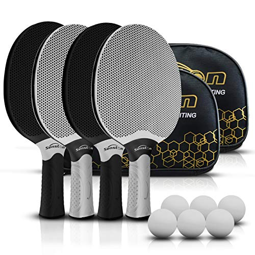 Senston Table Tennis Rackets Set,Professional Ping Pong Paddle Set for 4 Players, Composite Rubber Table Tennis Paddles, Indoor or Outdoor Games.