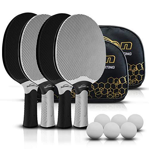 Senston Tischtennisschlägerset, professionelles Tischtennis-Paddel-Set für 4 Spieler, Ping-Pong-Paddel aus Verbundgummi, Spiele im Innen- oder Außenbereich.