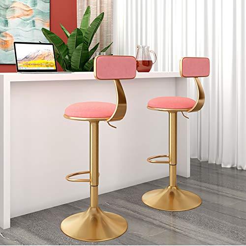 Sgabello da bar girevole Set di 2, Sgabello da bar regolabile in altezza Set di 2, Sedie da bar girevoli a 360° con schienale, Sgabello Alto per Bancone Cucina Colazione, Seduta rotonda in velluto,