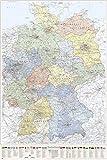 J.Bauer Karten Deutschland-Karte politisch (B&esländer), Poster 80 x 120 cm