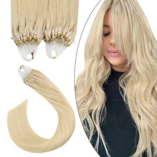 Ugeat Unsicitbar Micro Loop Extensions Echthaar Platinblond #60 Micro Bead Fusion Hair Extensions Microring Haarverlangerung Echthaar 50cm 1Gramm*50Strähnen Echt Haarextension mit Ring