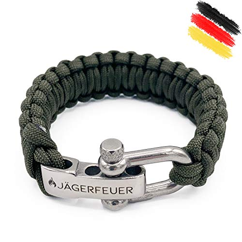 Jägerfeuer Paracord Survival Armband für Herren/Damen mit einstellbarem Edelstahl Verschluss (Dunkelgrau)