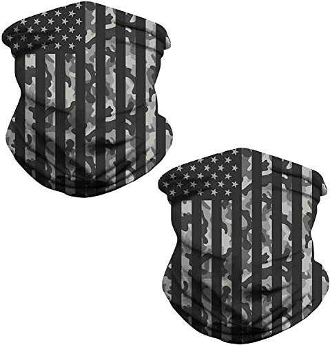 Heymiss Face Bandanas Mens Womens Headband Shield Scarf Neck Gaiters for Dust Outdoors Sports Daily Protection,American Flag,2 Pcs