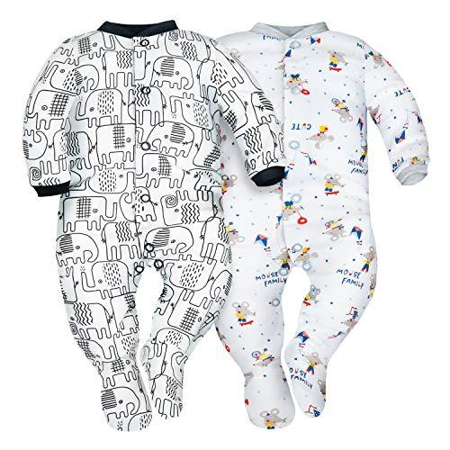 Sibinulo Bambino Bambina Pagliaccetto Pigiama con ABS Pacco da 2 Elefanti Neri e Topi 92(18-24 Mesi)