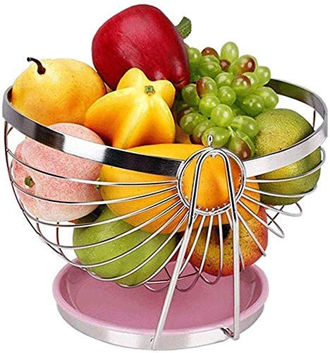 CHNGP Mooie Moderne creatieve verdikte fruitmand fruitmand woonkamer brede fruitmand 304 roestvrij stalen fruitschaal fruitmand afvoer (kleur: zilver)