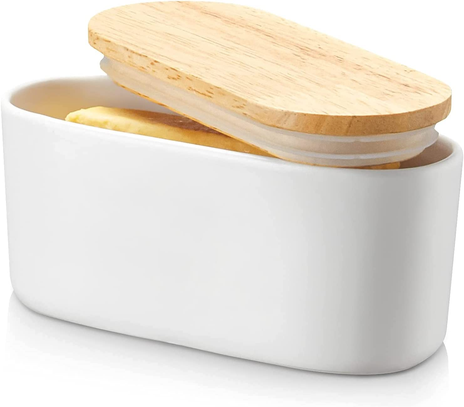 Rapid rise DOWAN Porcelain Butter Dish with Covered Woode Super intense SALE Container