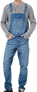 huateng Fashion Men's Long Dungarees Retro Jumpsuit Denim Trousers Jumpsuit Overalls Casual Pants