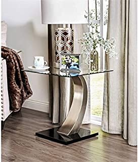 BOWERY HILL Glass Top End Table in Satin