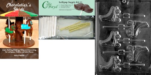 Cybrtrayd Rollschuhe Lolly Schokolade Form mit Chocolatier 's Bundle, inkl. 25 Lollipop Sticks, 25 Cello Taschen, 25 gold Twist Krawatten und Chocolatier 's Guide