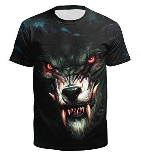 Ocean Plus Homme Crâne T-Shirt Impression 3D T-Shirts à Manches Courtes col Rond avec Imprimé Animal Hauts - Loup Noir - XL