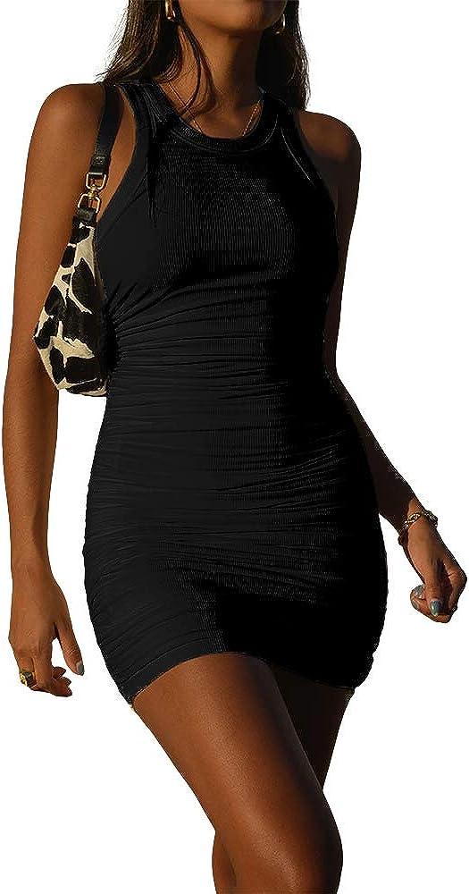 DREAM SLIM-Women's Sexy Sleeveless Solid Color Short Dress,Bodycon Dress,Ruched Slim Fitting Mini Tank Dress