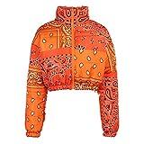 Women Shiny Short Puffer Jackets Bandana Cropped Zip Up Puffer Jackets Fashion Bubble Quilted Lightweight Coats (Orange, M)