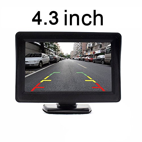 Kalakus 7 inch LCD auto monitor auto achteruitrijcamera monitor auto achteruitrijmonitor, universele dvd-speler voor de meeste voertuigen, zwart LCD-display, 4.3 inch scherm