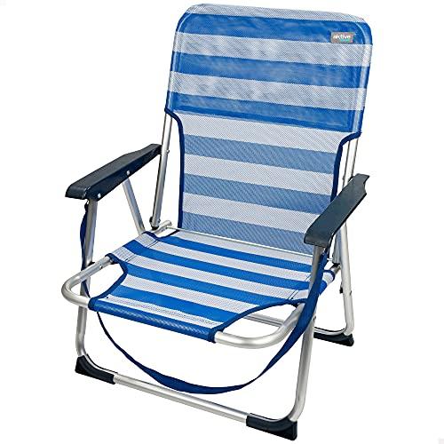 Aktive 53950 - Silla plegable de playa, Silla playa, 55x35x72 cm, Silla plegable, Silla fija de aluminio, con asa para transportar, color azul y rayas blancas, soporta 100 kg peso