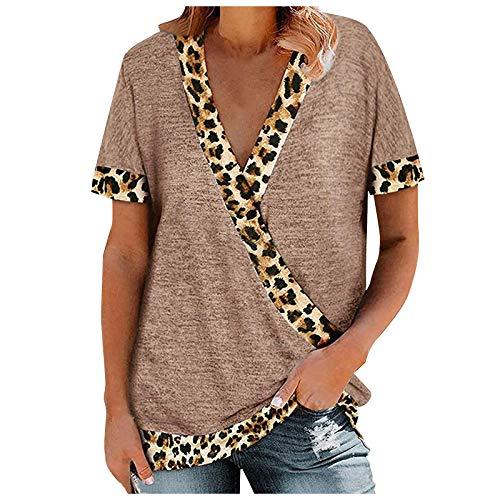 Pistaz - Camiseta para mujer con estampado de leopardo, estilo informal, cuello redondo trenzado en el lateral anudado, trajes con cuello en V en el lateral, color liso