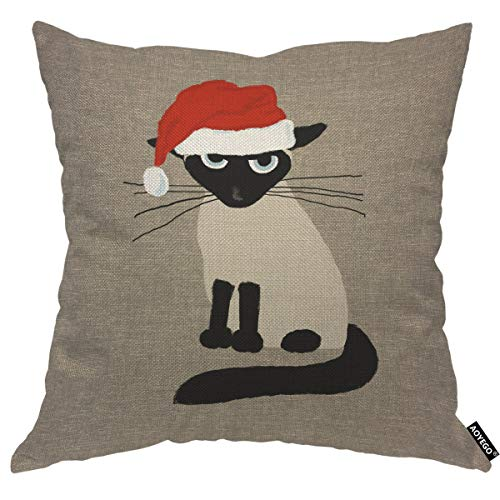 AOYEGO Merry Christmas Cat Throw Pillow Cover Black Kitten Cartoon Cute Animal Pet Santa Claws Siamese Portrait Pillow Case 18x18 Inch Decorative Men Women Boy Girl Room Cushion Cover for Home Couch