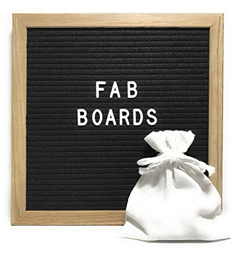 """Letter Board With Changeable Letters, Punctuation, Numbers, and Emoji's - 10"""" X 10"""" Inch - Black Felt - Helvetica 340 White Letter Set - Solid Oak Wooden Frame Boards"""