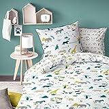 Juego de cama infantil con diseño de dinosaurios Arlo y Spot de Disney, reversible, azul, verde, turquesa, 2piezas: almohada 80x80y funda nórdica 135x200cm, 100% algodón