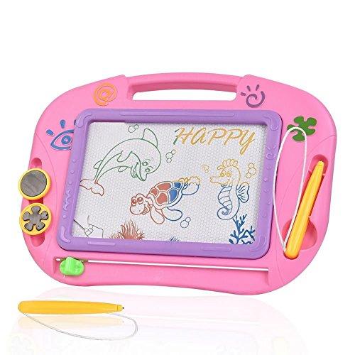 TTMOW Zaubertafel Kinder Maltafel für Kinder ab 3 mit Magnetische Stempel Lerntafel Reißbrett Kindergeschenk (Rosa)