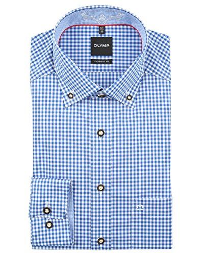 Olymp Herren Trachtenhemd Modern Fit blau / weiß kariert 1902 64 19, Größe 48