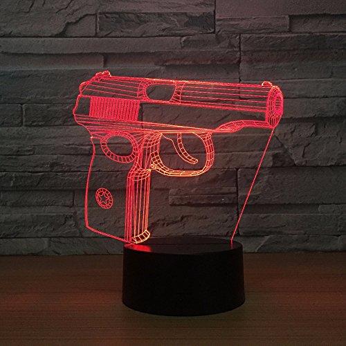 DFDLNL Pistola 3D Night Light Touch Armario Mesita de Noche USB Regalo Personalizable Accesorios de luz 3D Lovely 7 Color Change 3D Lamp