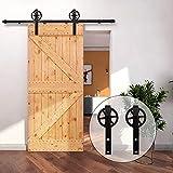 7FT/213cm Binario per Porta Scorrevole Kit Accessori per Singolo Porta Scorrevole in Stile Rustico, Nero
