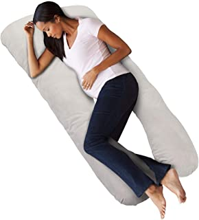 KingSo Pregnancy Pillow 60 inches U Shaped Full Body Pillow with Removable Cover and 7D PP Cotton Filling Support Back, Hips, Legs, Belly for Pregnant Women, Baby and Anyone Else (Light Grey)