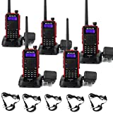 Retevis RT5 Two Way Radio Long Range Adult Walkie Talkies VHF/UHF Dual Band 128CH Scan Alert VOX FM Handheld 2 Way Radios Earpiece with Mic(5 Pack)