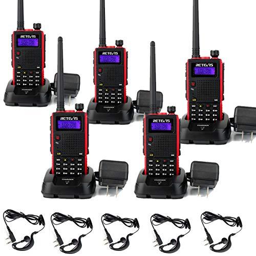 Retevis RT5 Two Way Radio Long Range Adult Walkie Talkies VHF/UHF Dual Band 128CH Scan Alert VOX FM Handheld 2 Way Radios Earpiece with Mic5 Pack