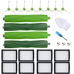 The accessories kits are compatible with iRobot Roomba vacuum cleaner Replenishment Parts i7 7150 i7+ 7550 i7 Plus i6 i8 E5 5134 E6 6198 E7 What's in the box: Dual Multi-Surface Rubber Brushes X2 sets, High-Efficiency HEPA filters X8 , Edge-Sweeping...