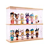 """Display case for Action Figures with 2 Tier Large Storge Box,Doll Display case with Door for Figure Collectibles,Funko pop,Pop Figures,Mini Figure,Pop Mart,need self-Assembly(12"""" W x 3.9"""" D x 11.4"""" H)"""
