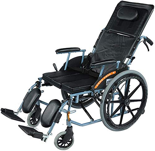 Hyy-yy Manual de la silla de ruedas de aluminio silla de ruedas plegable ligero de la silla de ruedas con respaldo alto, completa con asiento reclinable Vespa for la tercera edad ya las personas neces