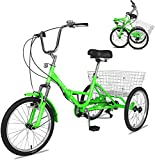 Barbella Adult Folding Tricycles Folding Bikes, 7 Speed 20/24/26 Inch 3 Wheel Adult Trikes Cruiser Bike with Large Basket, Foldable Tricycle for Adults, Women, Men, Seniors