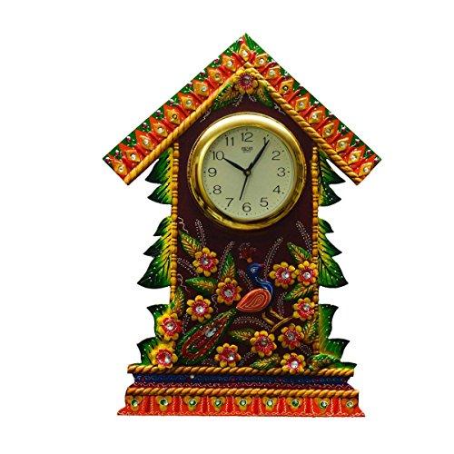 eCraftIndia Papier-Mache Wall Clock Floral Hut Design (LxWxH - 16INx2INx21.5IN)