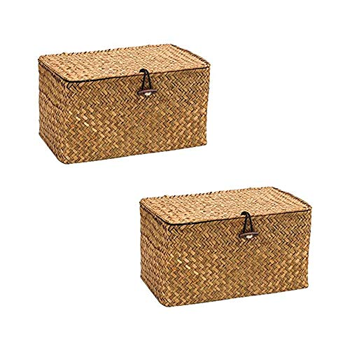 WOOD MEETS COLOR Aufbewahrungsbox Seagras Aufbewahrungskiste Dekobox Kosmetik Aufbewahrung mit Deckel Aufbewahrungskörbe aus Natürliche Praktische 24 × 14 × 13cm (Original x2)