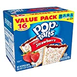 Kellogg's Pop-Tarts Frosted Strawberry Toaster Pastries - Fun Breakfast for Kids, Value Pack (16 Count)