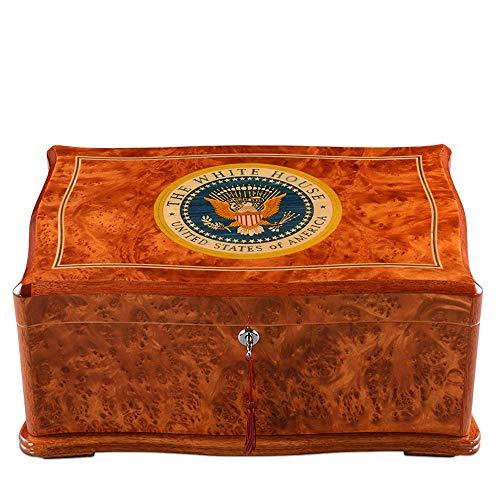 WMM- Cigar box Zigarren-Humidor, Adler-Muster, mit Hygrometer und Luftbefeuchter aus Holz, Zigarrenzubehör Handgefertigtes Holz für 100 Zigarren-Boxen