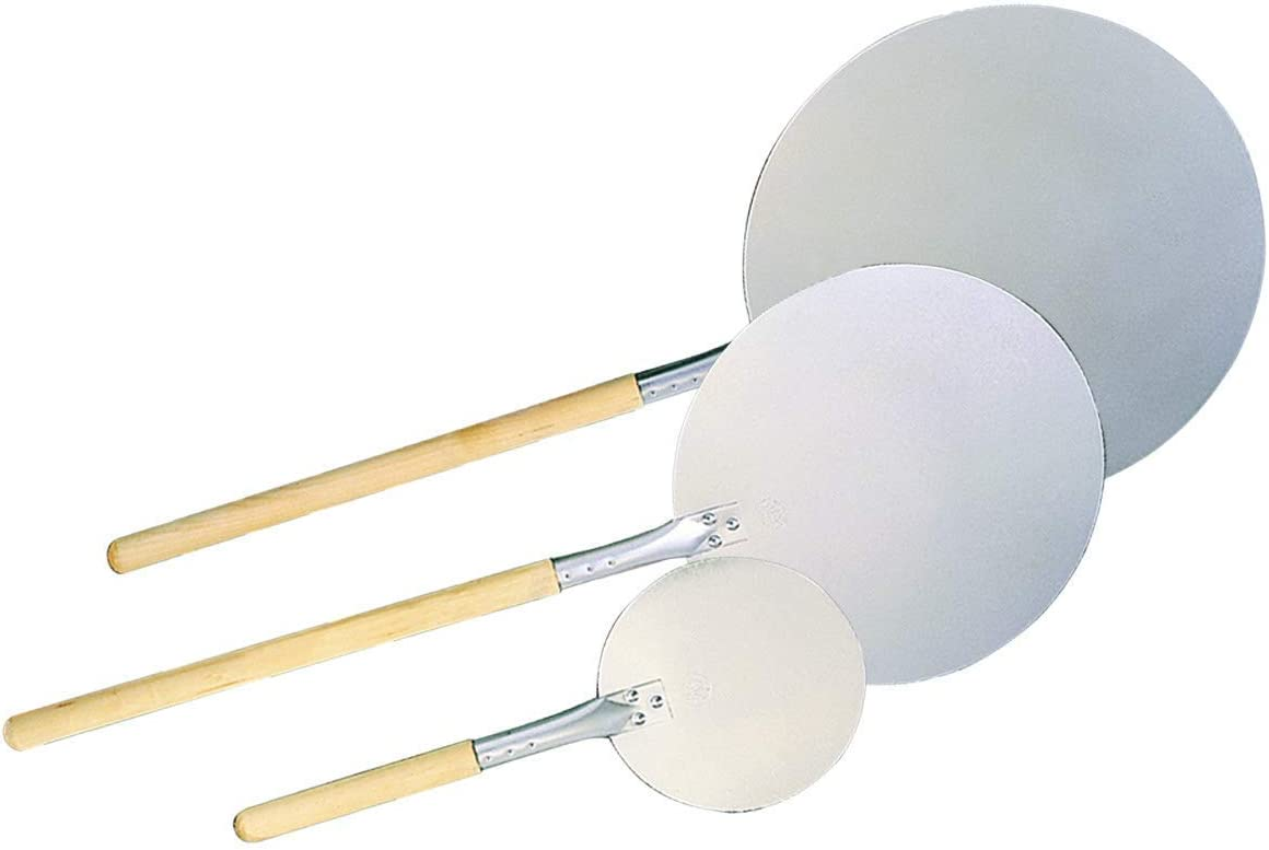 New Version 8 Round Aluminum Pizza Peel with 12 Wood Handle