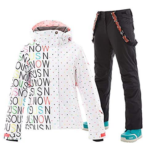 Skianzug Damen, Skijacke Hosen wasserdicht Winter Snowboardjacke Jacke Berg Outdoor-Sport Zweiteiliger Anzug, atmungsaktiv warm
