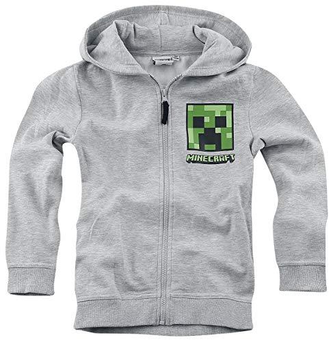 Minecraft Jungen-Kapuzenpullover, grau, grüner Creeper mit Reißverschluss für Gamer, Alter 6–12 Jahre, langärmeliges Top Gr. 128 cm(8 Jahre), Grau / Grün