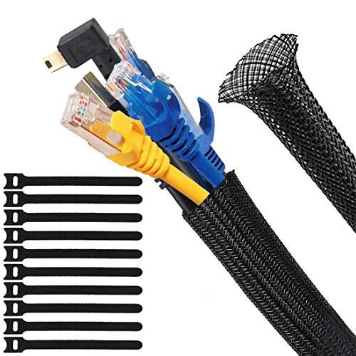 Organizador Cables, 3m Recoge Cables, Cubre Cables Flexible Funda Organizador Cables, 10...