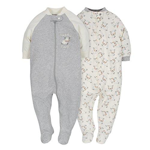 Gerber Baby 2-Pack Organic Sleep 'N Play, Grey/Ivory, Newborn
