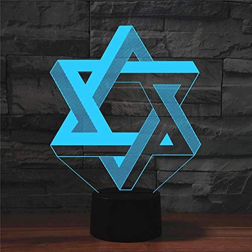 LWLHOUSE Durable Pentagram Forma 3D Lámpara de Mesa de luz LED de visión de LED, versión táctil USB
