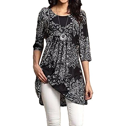 Juleya Femmes Casual imprimé Floral en Vrac Grande Taille Tunique T-Shirt Tops Grey 4XL