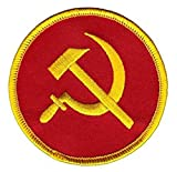 USSR Communist Patch (3 Inch) Hook + Loop Embroidered Badge Hammer and Sickle Soviet Union Logo Russia Military Morale Tactical Vest Airsoft